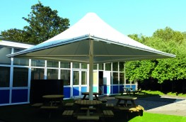 Merida Waterproof Tensile Shade Structure Installed image